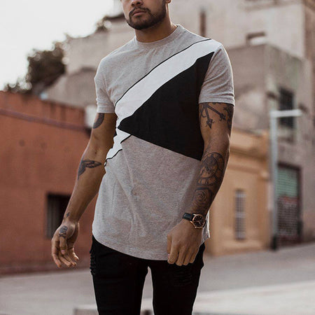 Men's Casual Stitching Color T-Shirts