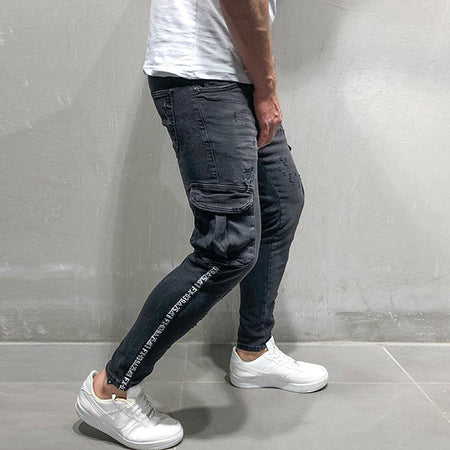 Solid Color Hole Slim Casual Jeans