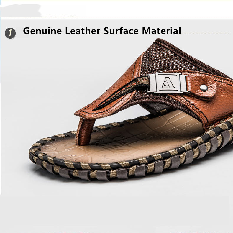 Plus Size Hand-made Genuine Leather Men Slippers Beach Shoes