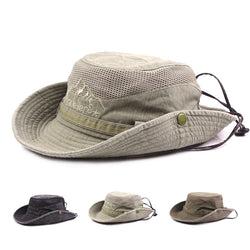 Mens Summer Cotton Embroidery Visor Bucket Hats