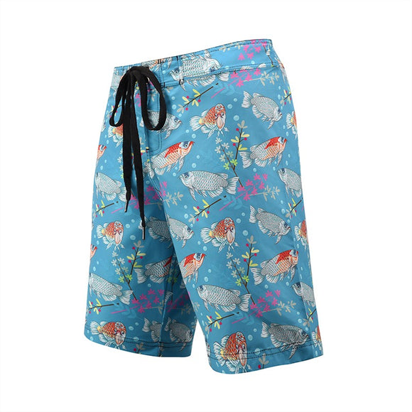 Men's Beach Board Shorts Fish Pattern Blue Swimming Pants