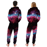 Men's Women Pizza Cat New Full-Zip Casual Pajamas Jumpsuit