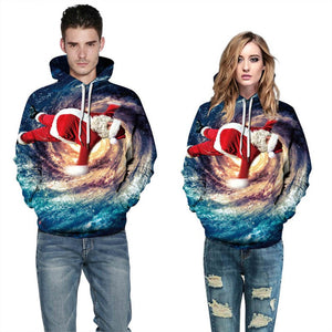 Mens Hoodies 3D Printed Santa Claus in Space Printing Hooded