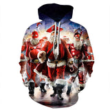 Mens Hoodies 3D Printed Santa Claus Team Printing Hooded