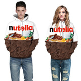 Mens Hoodies 3D Printed Nutella Printing Hooded