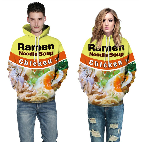 Mens Hoodies 3D Printed Egg Ramen Noodle Printing Hooded