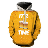Mens Hoodies 3D Printed Beer Party Printing Hooded