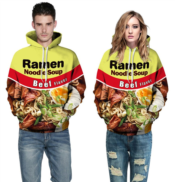Mens Hoodies 3D Printed Beef Ramen Noodle Printing Hooded