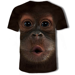 Mens T Shirt 3D Printing Cute Monkey Printed Tee