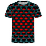 Mens 3D Printing T Shirt Red Hole Pattern Shirt