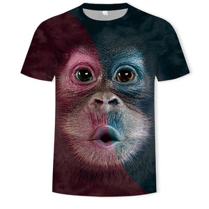 Mens T Shirt 3D Printing Cute Monkey Face Printed Tee