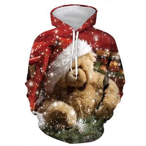 Mens Hoodies 3D Graphic Printed Christmas Bear Pullover Hoodie