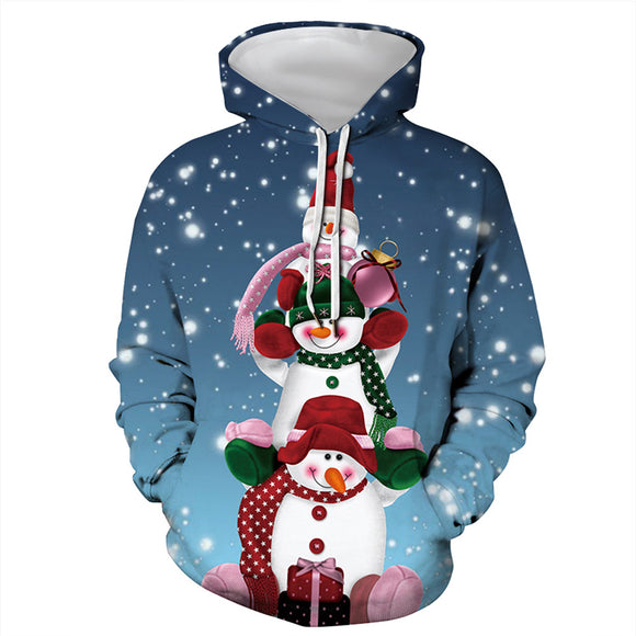 Mens Hoodies 3D Graphic Printed Christmas Snowman Family Pullover Hoodie