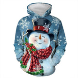 Mens Hoodies 3D Graphic Printed Christmas Smiling Snowman Pullover Hoodie
