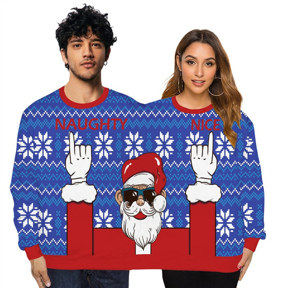Couple Wear Lovers Men Women Connected Blue Hoodies Christmas Santa Claus Pattern Sweatshirt