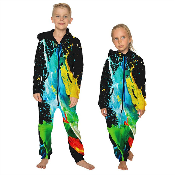 Children's Jumpsuit Tie Die Printing Kids Rompers Nightwear Homewear Zipper Clothing