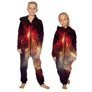 Children's Jumpsuit Fire Printing Kids Rompers Nightwear Homewear Zipper Clothing