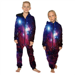 Children's Jumpsuit Galaxy Starry Printing Kids Rompers Nightwear Homewear Zipper Clothing