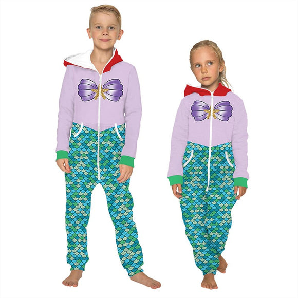 Children's Jumpsuit Colorful Fish Scale Printing Kids Rompers Nightwear Homewear Zipper Clothing