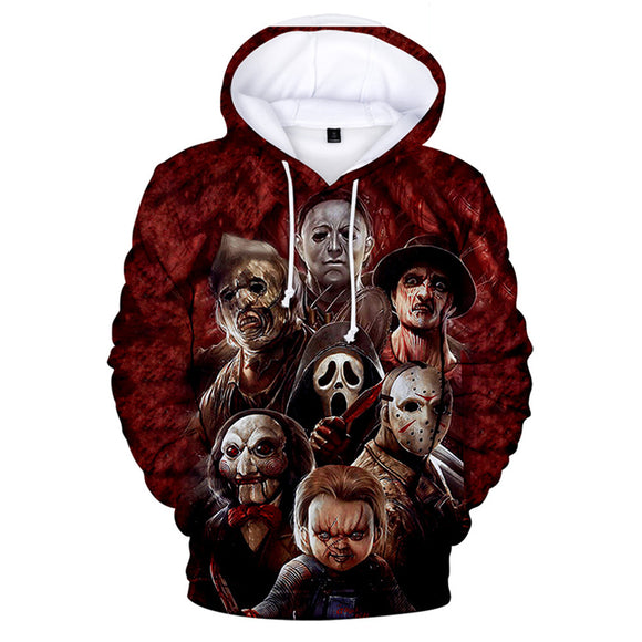 2019 Michael Myers Mask Meet Jason 3D Printed Sweatshirt Halloween Horror Movie Long Sleeve Streetwear Hoodies