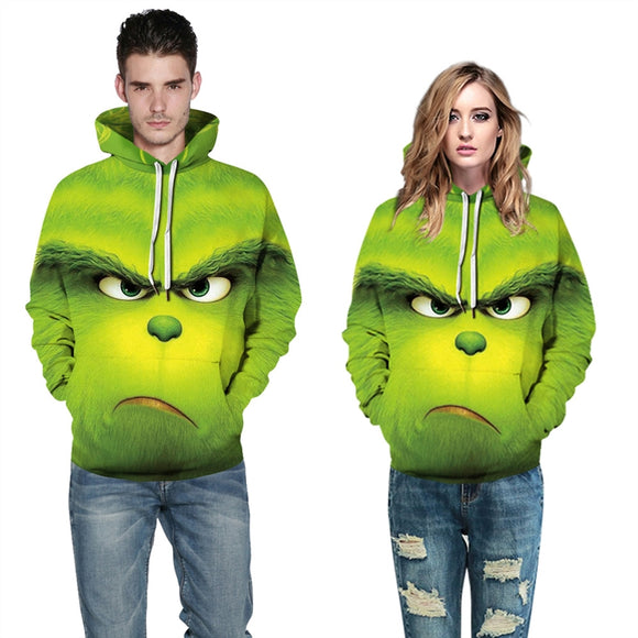 MingoTor Men's Ladies Green 3D Hoodie How The Grinch Stole Movie Christmas Hooded Jacket
