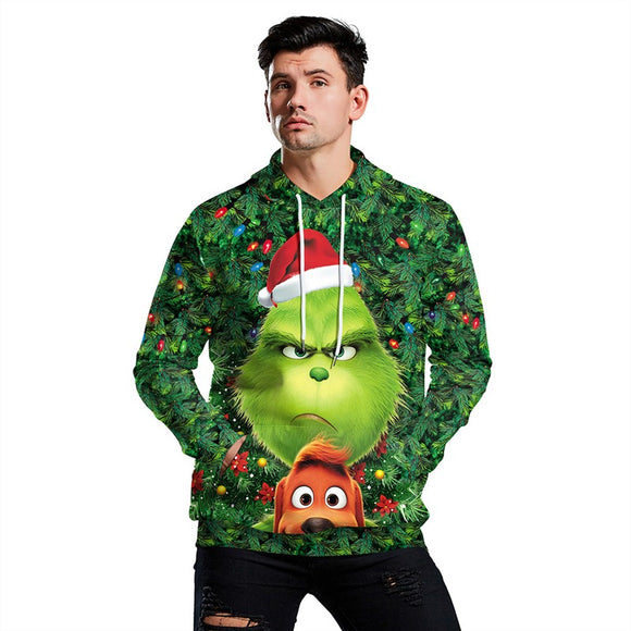Green Monster Grinch Mens Hoodies 3D Graphic Printed