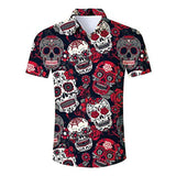 Men's Hawaiian Shirt Halloween Skeleton