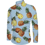 Sale Sale Sale!!! RAISEVERN Men's Business Shirts Blue Pineapple Printed Long Sleeve Dress Shirts