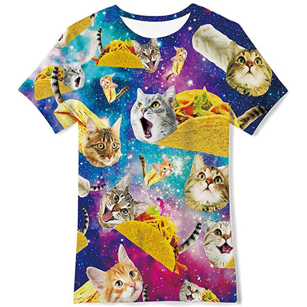 T-Shirt Astronaut Cat 3D Print Short Sleeve Top Tees for Boys Girls Funny Novelty