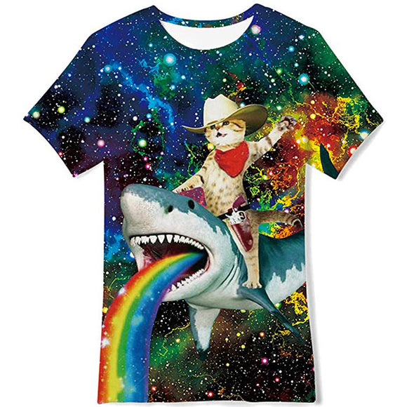 Kids Girls Boys Summer T Shirts Stylish Cat Riding Shark Kids Tee