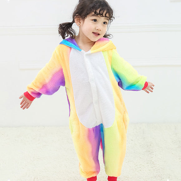 Child Romper Rainbow Color Costume for Kids Onesie Pajamas for Girls Boys