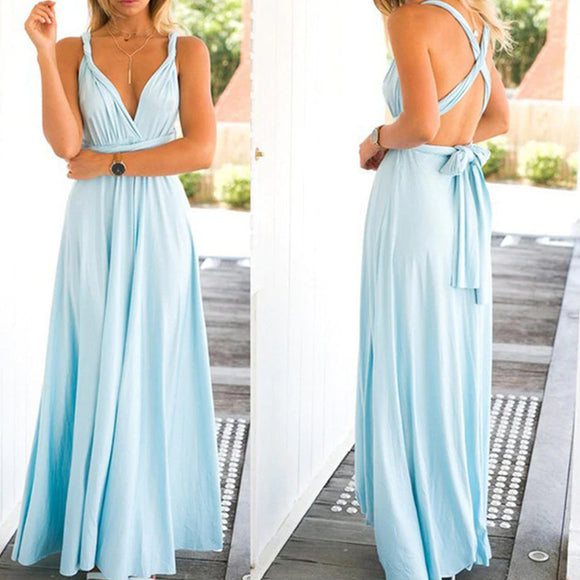 Bridesmaid Multiway Dresses Wedding Party Sky Blue Color