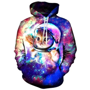 Mens Hoodies 3D Printing Astronaut Cat Printed Pattern Hooded