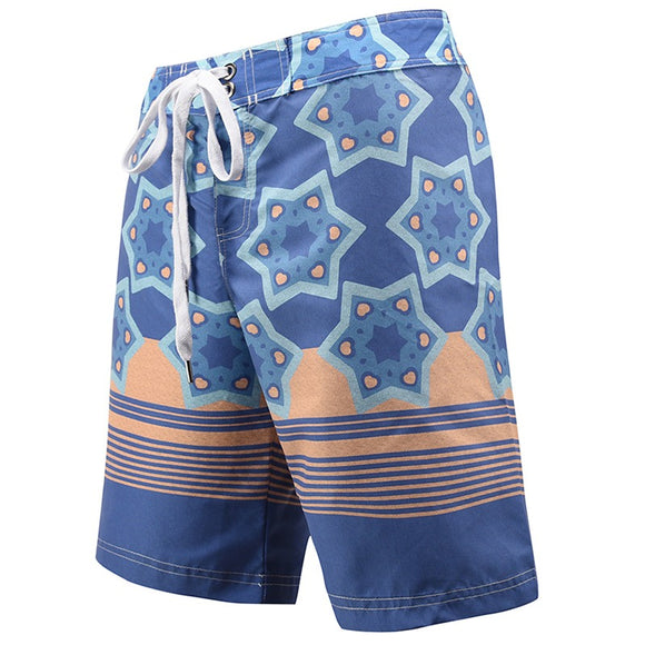 Men's Beach Board Shorts Blue Stripes Swimming Pants