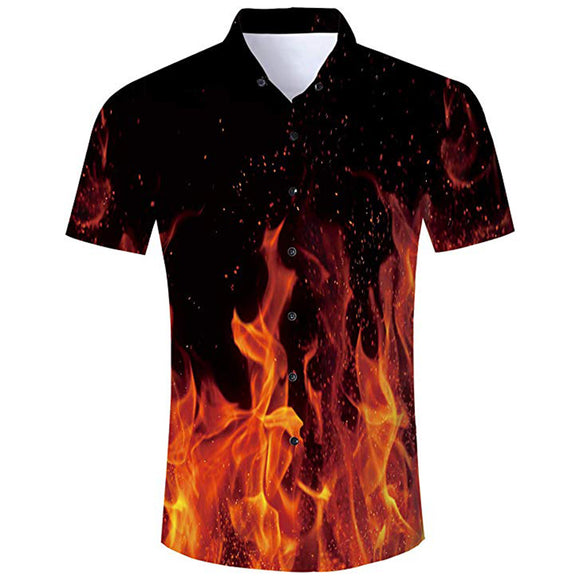 Men's Hawaiian Shirt Fire Smoke Flame Printing
