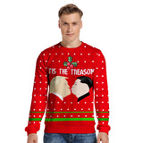 Mens Pullover Sweatshirt 3D Printed Christmas Red Long Sleeve Shirts