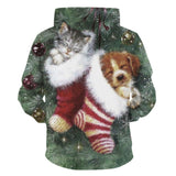 Mens Hoodies 3D Graphic Printed Christmas Sleeping Cat Dog Pullover