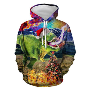 Mens Hoodies 3D Graphic Printed Merry Christmas Dinosaur Colorful Pullover Hoodie