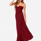 Bridesmaid Multiway Dresses Wedding Party Burgundy Color