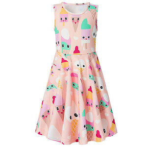 Girls Ice Cream Printed Dresses