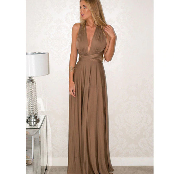 Bridesmaid Multiway Dresses Wedding Party Dark Khaki Color