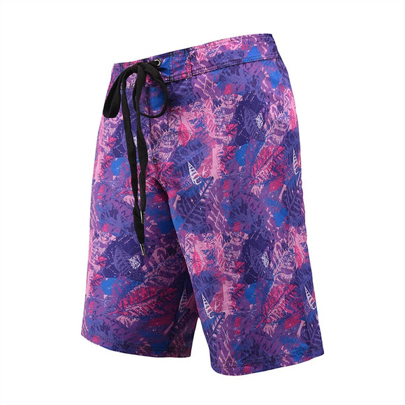 Men's Beach Board Shorts Tropical Floral Pattern Purple Color Swimming Pants