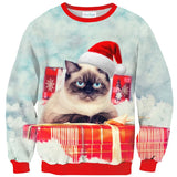 Mens Pullover Sweatshirt 3D Printed Merry Christmas Cat with Gifts Long Sleeve Shirts