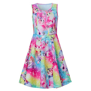Little Girls Novelty Cats Printed Dress