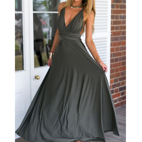 Bridesmaid Multiway Dresses Wedding Party Dark Gray Color