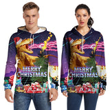 Mens Hoodies 3D Graphic Printed Ugly Christmas Dinosaur Pullover Hoodie
