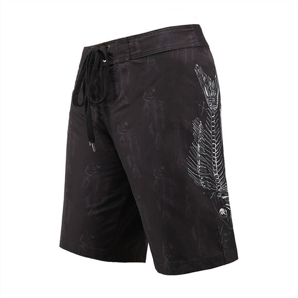 Men's Beach Board Shorts Fish Bone Black Swimming Pants