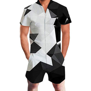 Men's Rompers Zipper Jumpsuit Black and White Diamond Geometry Printed