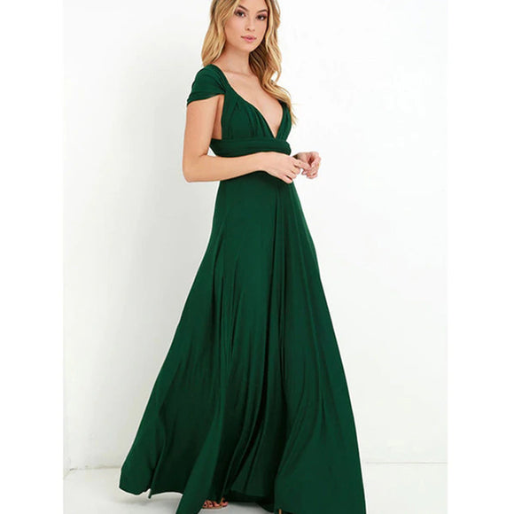Bridesmaid Multiway Dresses Wedding Evening Party Green Color