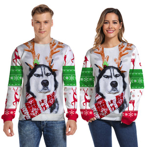 Mens Pullover Sweatshirt 3D Printed Christmas Dog Face White Long Sleeve Shirts